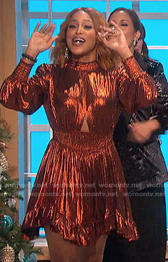 Eve's metallic cutout dress on The Talk