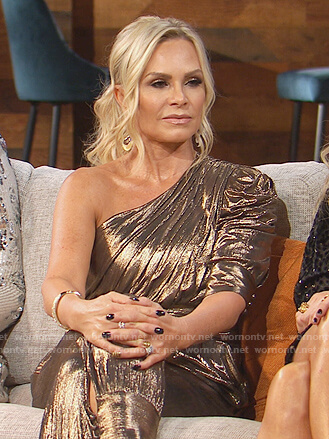 Tamra's metallic one shoulder jumpsuit on The Real Housewives of Orange County