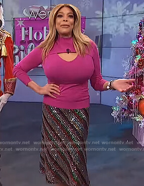 Wendy's pink cutout sweater and sequin skirt on The Wendy Williams Show