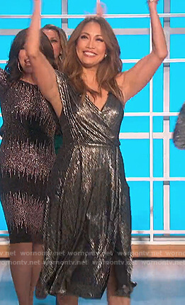 Carrie's metallic drape dress on The Talk