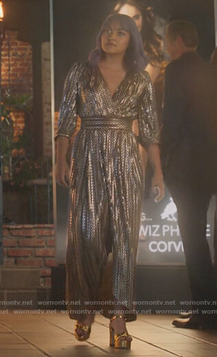 Gert's metallic wrap dress on Marvels Runaways