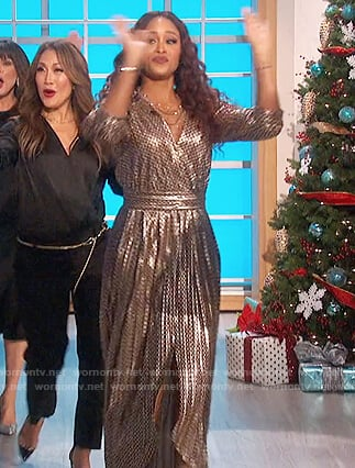 Eve's metallic wrap dress on The Talk