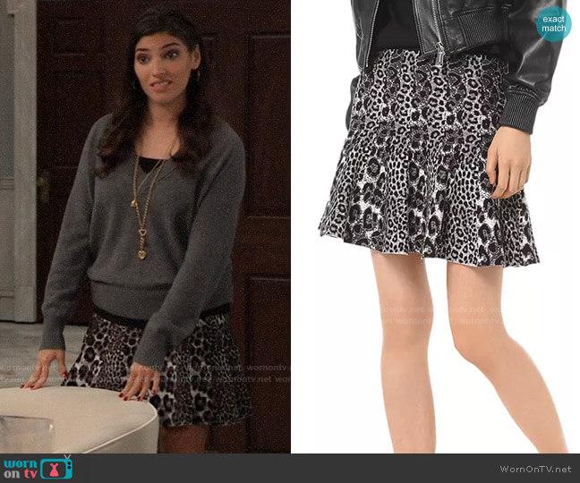 MICHAEL Michael Kors Pleated Leopard Jacquard Mini Skirt worn by Brook Lynn Quartermaine (Amanda Setton) on General Hospital