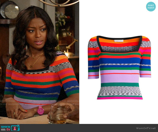 Milly Space Dye Rainbow Stripe Sweater worn by Ali Finer (Javicia Leslie) on God Friended Me