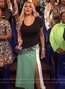 Wendy's green seqin slit skirt on The Wendy Williams Show
