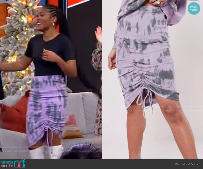 Tie Dye Ruched Side Midi Skirt by Missguided worn by Keke Palmer  on Good Morning America
