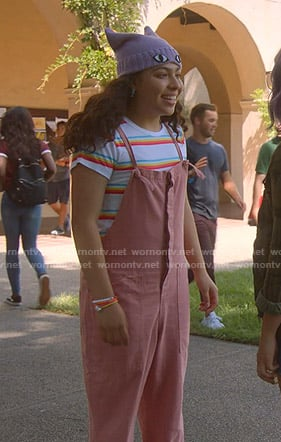 Molly's rainbow striped tee and pink jumpsuit on Marvels Runaways