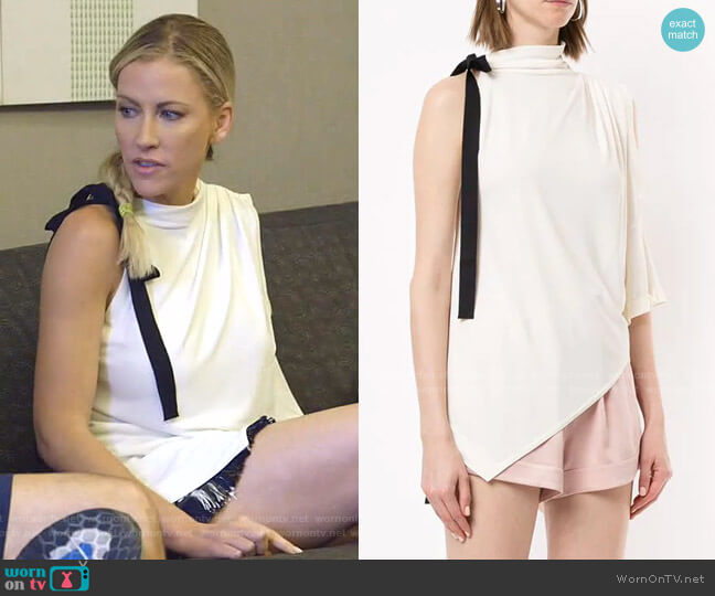 Bow Detail Asymmetric Top by Monse worn by Stephanie Hollman  on The Real Housewives of Dallas