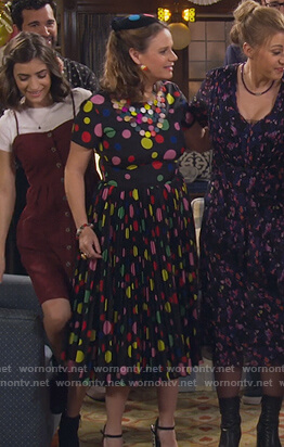 Kimmy's multicolored polka dot dress on Fuller House