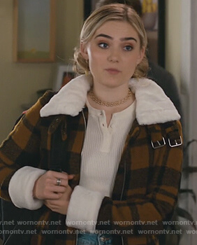 Taylor's mustard plaid jacket on American Housewife