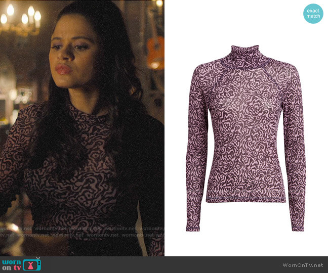 Nanushka Madi Printed Mesh Top worn by Mel Vera (Melonie Diaz) on Charmed