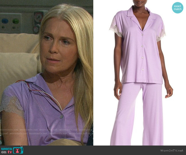 Natori Shangri-Lace Short Sleeve Shirt & Pants Pajama 2-Piece Set worn by Jennifer Horton (Melissa Reeves) on Days of our Lives