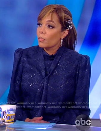 Sunny's blue print tie-neck dress on The View
