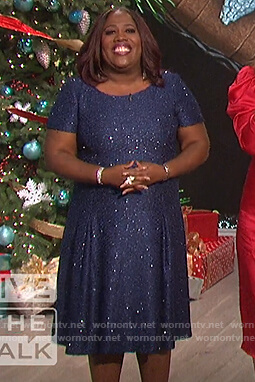 Sheryl's blue metallic dress on The Talk