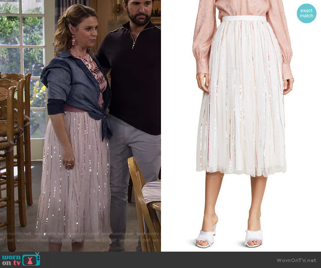 Shimmer Sequin Midaxi Skirt by Needle & Thread worn by Kimmy Gibbler (Andrea Barber) on Fuller House