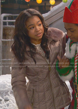 Nia's pink puffer jacket with fur collar on Ravens Home