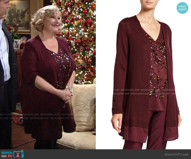 Nic + Zoe Contessa Long Cardigan with Sheer Trim worn by Traci Abbott (Beth Maitland) on The Young & the Restless