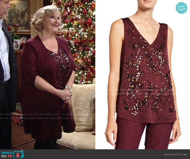 Nic + Zoe In Sequence V-Neck Tank worn by Traci Abbott (Beth Maitland) on The Young & the Restless