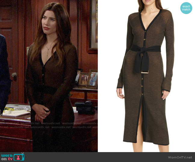 Nicholas Ribbed Long Sleeve Wool Cardigan Midi Dress worn by Steffy Forrester (Jacqueline MacInnes Wood) on The Bold & the Beautiful