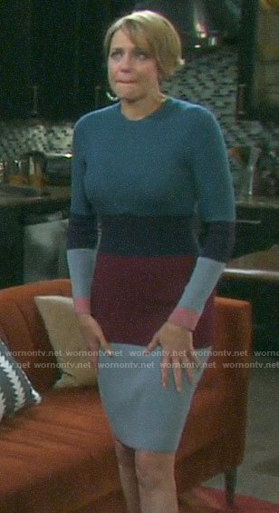 Nicole's ribbed colorblock dress on Days of our Lives