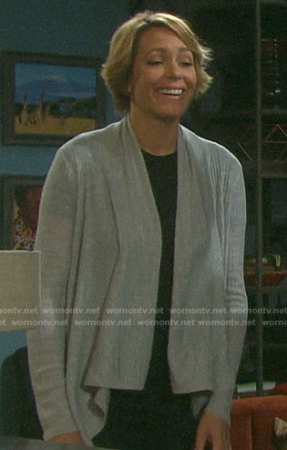 Nicole's grey draped front cardigan on Days of our Lives