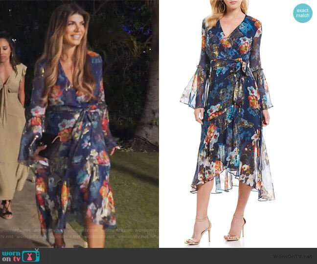 Floral Wrap Bell Sleeve Midi Dress by Nicole Miller worn by Teresa Giudice  on The Real Housewives of New Jersey