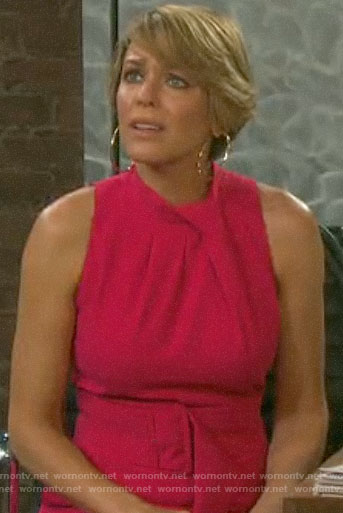 Nicole's pink belted jumpsuit on Days of our Lives