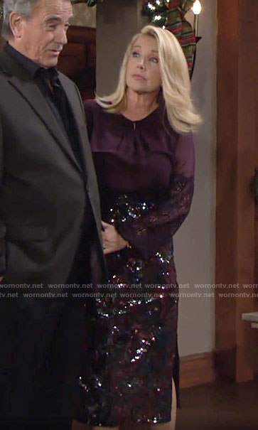 Nikki's purple blouse and sequin midi skirt on The Young and the Restless
