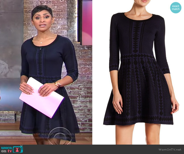 Geometric Print 3/4 Sleeve Fit & Flare Dress by Nina Leonard worn by Jericka Duncan  on CBS This Morning