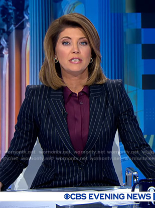 Norah's navy pinstripe suit on CBS Evening News