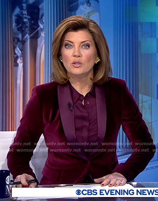 Norah's purple velvet blazer on CBS Evening News