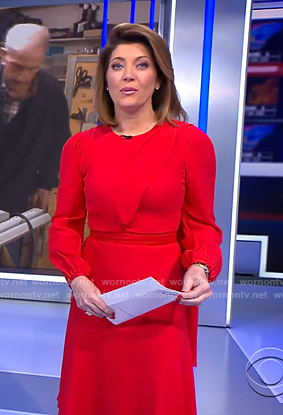 Norah's red dress with scarf on CBS Evening News