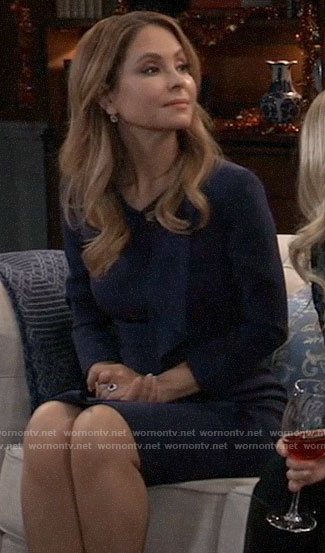 Olivia's navy ruffled dress on General Hospital