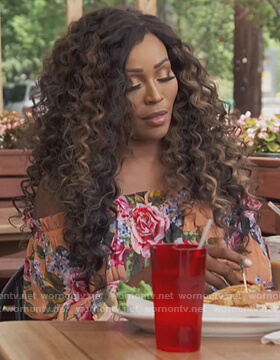 Cynthia's floral dress on The Real Housewives of Atlanta