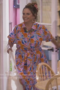 Kimmy's orange floral shirtdress on Fuller House
