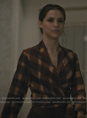 Stevie's check wrap blouse on Madam Secretary