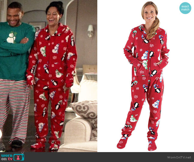 Pajamagram Holiday Hoodie Footie worn by Rainbow Johnson (Tracee Ellis Ross) on Blackish