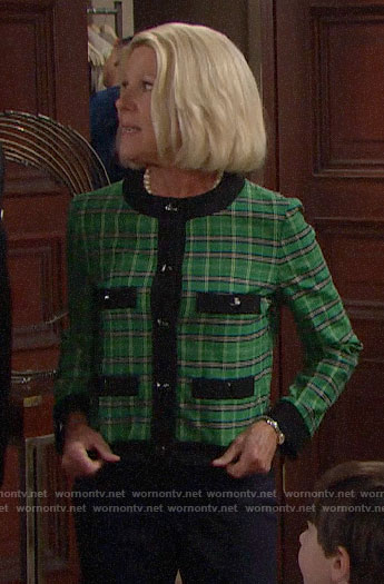 Pam's green plaid jacket on The Bold and the Beautiful