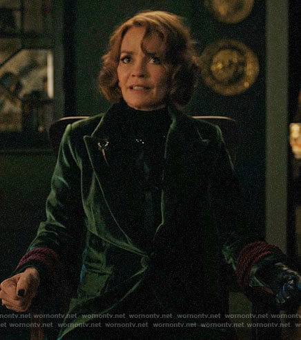 Penelope's green velvet blazer on Riverdale