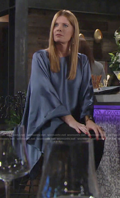 Phyllis's blue cape sleeve blouse on The Young and the Restless