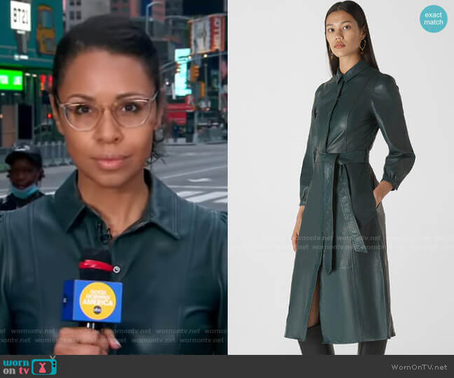 Phoebe Leather Shirt Dress by Whistles worn by Adrienne Bankert  on Good Morning America