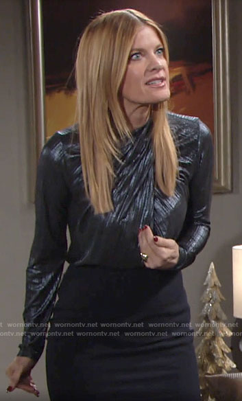 Phyllis's metallic blue cross neck top on The Young and the Restless
