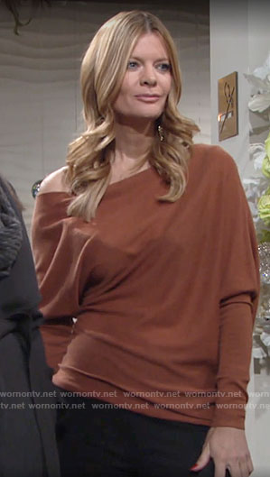 Phyllis's brown draped shoulder top on The Young and the Restless