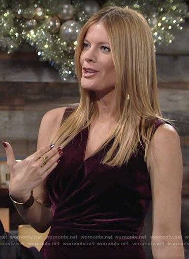 Phyllis's burgundy velvet dress on The Young and the Restless