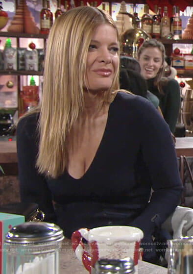 Phyllis's navy tie cuff dress on The Young and the Restless