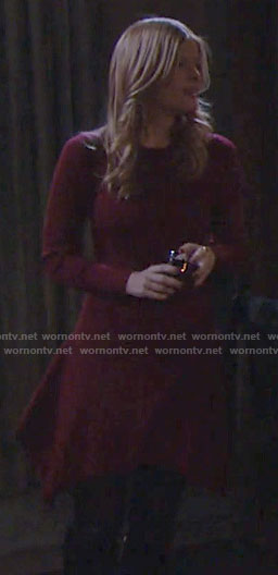 Phyllis's red asymmetric hem dress on The Young and the Restless