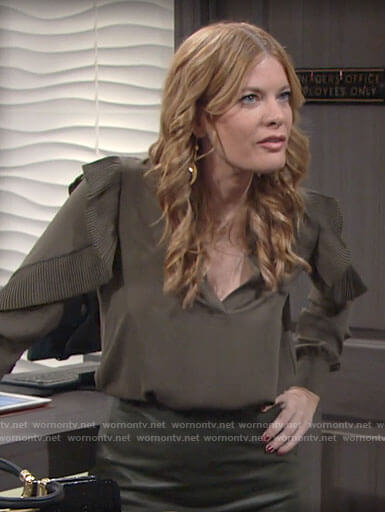 Phyliss's olive green ruffled blouse on The Young and the Restless