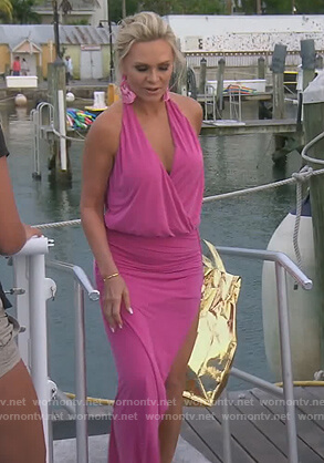 Tamra's pink asymmetric dress on The Real Housewives of Orange County
