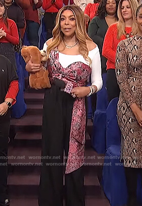 Wendy's floral drape top on The Wendy Williams Show