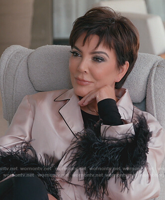 Kris's pink feather trim blouse on Keeping Up with the Kardashians